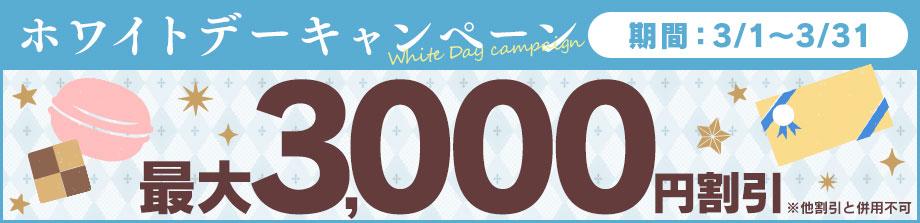 ホワイトデーキャンペーン最大3000円割引