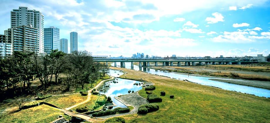 二子玉川周辺の多摩川河川敷
