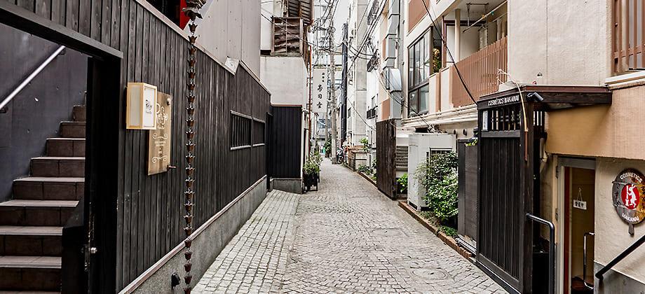 新宿区神楽坂にある石畳の写真